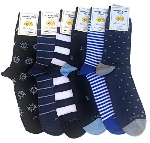 Lucchetti Socks Milano 6 paia calze uomo CORTE cotone filo di scozia elasticizzato estive in...