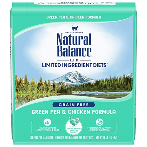 Natural Balance L.I.D. Limited Ingredient Diets Dry Cat Food, Green Pea & Chicken Formula, 10 Pounds, Grain Free