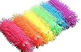 Curious Minds Busy Bags 6 Light Up 9' Puffer Worm - Flashing Indoor Soft Hairy Air-Filled Sensory Toy Puffer Balls - Sensory Fidget and Stress Balls - OT Autism SPD
