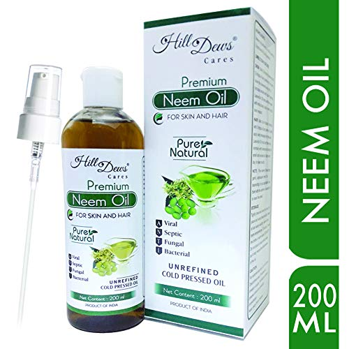 HillDews Neem Oil 200ml Pure Natural Unrefined Cold Pressed For Skin and Hair - Free From Paraben, Hexane and Mineral Oil