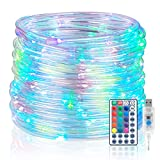 Koxly 120 LED Rope Lights Indoor Outdoor 39.37ft 17 Multi Color Changing Tube String Strip Lighting with Remote 8 Mode Twinkle Waterproof Christmas Decoration Wedding Camping Party Bedroom, Pool (USB)