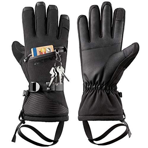 LOHOTEK Guanti da Sci Invernali per Uomo e Donna - Design Touchscreen Antivento per Esterni (Nero, M)
