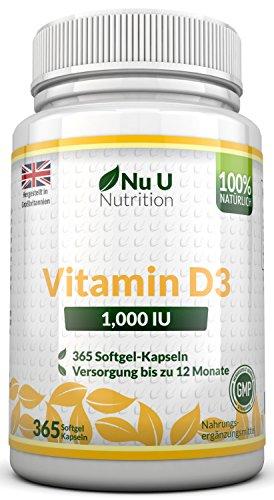 Vitamin D3 1000 IU hochdosiert   für Knochen, Zähne & Immunsystem   Jahresversorgung   100% Geld-zurück-Garantie   365 Softgel-Kapseln   Nahrungsergänzungsmittel von Nu U Nutrition