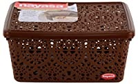 Material: plastic, color: dark brown, shape: rectangular Package contents: 1 basket Size: 29 cm x 21 cm x 13 cm Product dimensions (l x w x h): 29 cm x 21 cm x 14 cm Product shape: rectangular; care instructions: keep away from fire