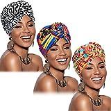 3 Piezas Turbantes Africano para Mujer Gorro de Nudo Pre-Atado Envoltura de Cabeza(Negro Naranja...