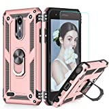 LeYi LG Tribute Empire Case,LG Aristo 3/Aristo 2/Rebel 4 LTE/Aristo 2 Plus/Phoenix 4/Tribute Dynasty/Zone 4 Phone Cases with HD Screen Protector, Magnetic Car Mount Ring Holder Stand Cover, Rose Gold