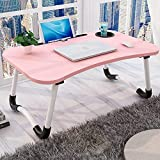 FLOOFY Smart Standard Multi-Purpose Laptop Table with Dock Stand/Study Table/Bed Table/Foldable and Portable/Ergonomic & Rounded Edges/Non-Slip Legs/Engineered Wood (Pink)