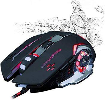 Souris, Optique Silencieux Silencieux, Aggravé Steel Plate Esports mécanique Cool RGB Wired Gaming Mouse, 4 LED Couleur lumière DPI 4 fichiers 6 Boutons