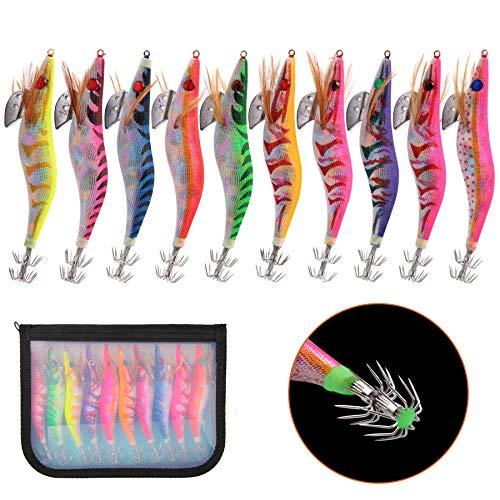 Shaddock 10pcs Kit di Esche Artificiali Esche da calamaro Pesca Luminoso Gancio di Esche da Pesca di Gamberetti in Legno Artificiale Legno di Gamberetti Esche da Pesca (3.5#-10pcs)