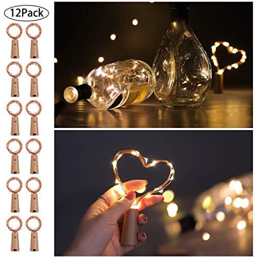 YYDE 12 Confezione 20 LED Bottiglia Luci, 2M Fata Decor Sughero Bottiglia di Vino Mini luci della Stringa, con Batteria Operato per la Festa di Natale, Matrimonio e Festa di Compleanno,Warm White