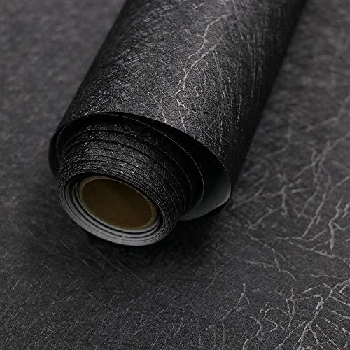 15.7' X 118' Black Silk Wallpaper Embossed Self Adhesive Peel and Stick Wallpaper Removable Kitchen Wallpaper Vinyl...