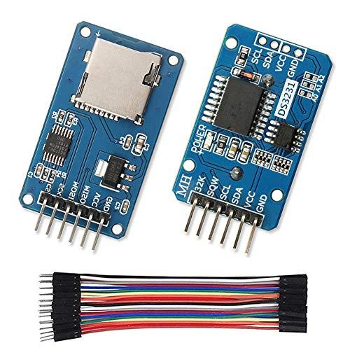WayinTop DS3231 AT24C32 IIC RTC Modulo Real Time Clock Modulo Orologio in Tempo Reale + Modulo Micro SD Card con Regolatori di Tensione + 10CM 20Pin Maschio a Femmina Jumper Cavo per Arduino