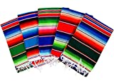 MEXIMART's Authentic Medium Mexican Blankets Colorful Serape Blankets Assorted Colors 80' x 48'