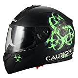 """Biohazard"" Full Face Matte Green Dual Visor Street Bike Motorcycle Helmet by Triangle [DOT] (Large, Green) …"