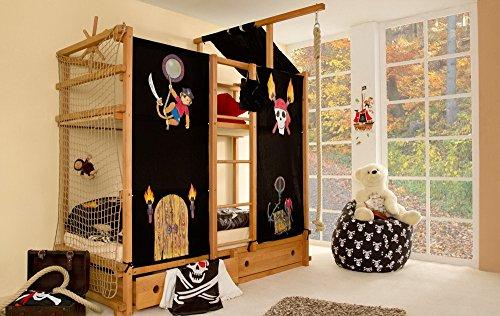 lifestyle4living Hochbett für Kinder in Braun/Schwarz, mit Vorhang, Seil, Dach und Steuerrad im Piraten Stil   Spielbett aus Buche Massivholz, Liegefläche 90x200 cm