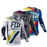 Pro Men Motocross Jersey Long Sleeves Breathable BMX MTB MX ATV Riding Cycling Shirt (Blue,XL)