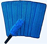 (Pack of 6) Microfiber Mop Pads 18' x 6' with Duster Wand - Reusable Head Wet Dry Mops Fits Most Spray Mops