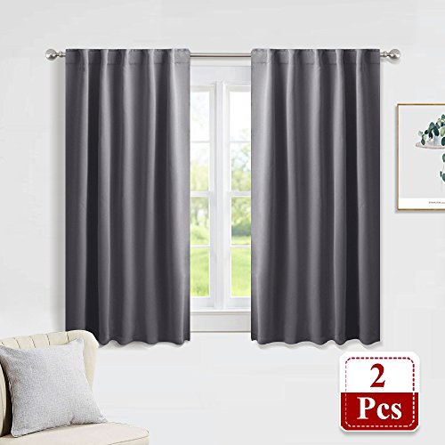 PONY DANCE Gray Blackout Curtains - Window Curtain Treatments Thermal Insulated Light Blocking Drapes Back Tab/Rod Pocket Short Curtain Panels for Bedroom & Kitchen, 42 W x 45 L, Grey, 1 Pair