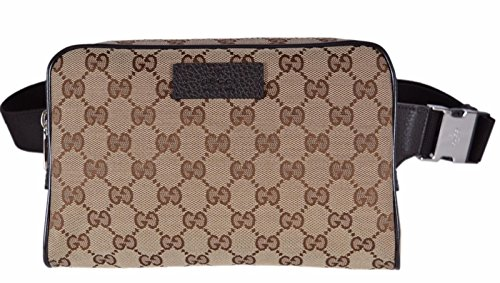 """51IaGpAOblL Beige Canvas, Brown Leather Trim, Silver Tone Hardware """"Gucci"""" Engraved Snap Close, Adjustable Waist Strap, GG Guccissima Pattern """"Gucci"""" Plaque, Zip Close, Measures 9"""" x 6"""" x 2"""""""