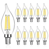LANGREE E12 LED Candelabra Base Bulbs 60W Equivalent, 5W LED Chandelier Light Bulbs, Non-Dimmable, LED Candle Light Bulb, Flame Tip, 5000K Daylight White, 550LM - Pack of 10