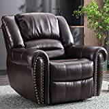 CANMOV Leather Recliner Chair, Classic and Traditional Manual Recliner...