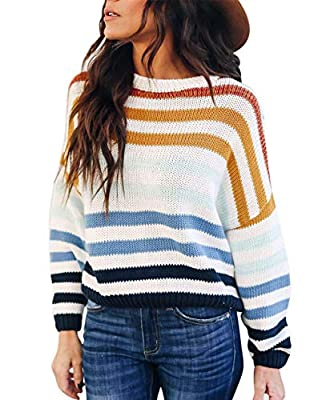 Material :100% acrylic. Smooth and soft, comfortable fabrics, skin-friendly and breathable to your body, giving you purely comfy and airy touch. Features:Long sleeve round neck pullover. This sweater features a round-neckline Long Sleeve Design,Cuffs...