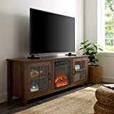 Walker Edison Furniture Company Modern Farmhouse Wood Fireplace Universal Stand with Cabinet Doors for TV's up to 80' Flat Screen Living Room Storage Entertainment Center, 70 Inch, Dark Walnut