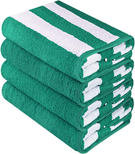 Utopia Towels Cabana Stripe Beach Towels, Green, (30 x 60 Inches) - 100% Ring Spun Cotton Large Pool Towels, Soft and Quick Dry Swim Towels (Pack of 4)