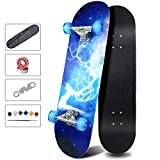 Easy_Way Complete Skateboards- Standard Skateboards with Colorful Flashing Wheels for Beginners Kids Boys Girls Teenager- 31''x 8''Canadian Maple Cruiser Pro Skate Board, Skateboards… (Deer Blue)