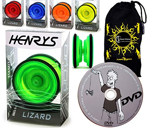 Henrys YoYo Lizard + Lernen Yo Yo Tricks DVD + Reisetasche! Yoyo Profi für Kinder und Erwachsene! AXYS-Systemachse Slider mit High-Speed-Lager. (Rot)