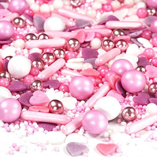 Streusel Mix - Piedras de azúcar (180 g), color rosa y blanco