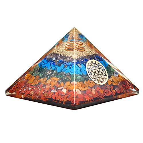 Real Crystal Orgonite Pyramids 7 Seven Chakra Orgone Healing...