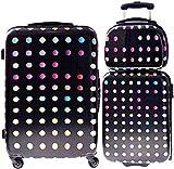 2 kofferhoezen met reisverkleedbox-handbagageruimte ABS harde schaal met stippenpatroon,Dot pattern