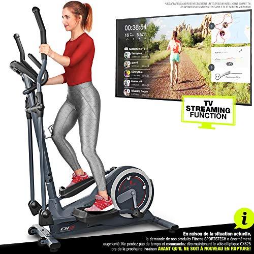 Sportstech Vélo elliptique CX625 ergomètre Compatible avec Application Smartphone, Poids d'inertie de 24 KG, entraînement avec Street View, 22 programmes de Fitness avec Fonction HRC, Porte-Tablette