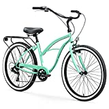 sixthreezero Around The Block Women's Beach Cruiser Bicycle, 7-speed, 26-Inch, Mint Green with Black Seat and Grips