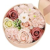 Luxury Beautiful Flora Scented Roses/Carnation Flower Bath Soap With Stem, Plant Essential Oil Flower Soap in Gift Box, Gift for Anniversary/Birthday/Wedding/Valentine\s Day/Mother\s Day(round)