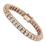 15 Carat Unique Diamond Tennis Bracelet for Men in 14k Gold 15ctw (Rose Gold)