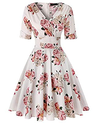 Feature: 1950s Classy Audrey Hepburn Style Flared Dress, Half sleeve, Knee-Length, Polka Dots, Wrap V-neck, A-line and Fitted Waist, Concealed Zipper Closure at back. Occasion: Suit for Cocktail dresses, Wedding dresses, Evening dresses, Christmas pa...