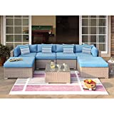 COSIEST 7-Piece Outdoor Wicker Patio Furniture Set All-Weather Rattan Sectional Sofa w Thick Cushions, Glass Table, Pillows for Garden, Pool, Backyard
