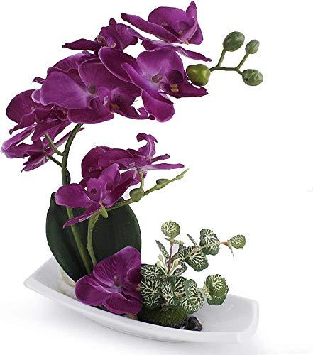 True Holiday Composizione di orchidee artificiali, perfetta per vasi di porcellana bianca, come decorazione per interni, in plastica e realistica D-viola-1