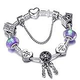 lonfenner Bracelet Cristal,Crystal Bracelet Bracelet DIY, Femmes, Violet 18Cm Bracelet Hypoallergénique, Cadeau, Cadeau d'anniversaire, pour Maison De Vacances