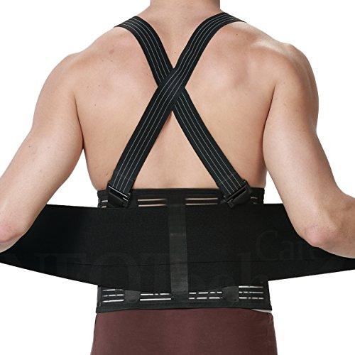Neotech Care Back Brace with Suspenders for Men - Adjustable - Removable Shoulder Straps - Lumbar Support Belt - Lower Back Pain, Work, Lifting, Exercise, Gym - Black (Size L)