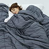 Weighted Idea Cooling Weighted Blanket Twin Size 15 lbs for Adults (48'x78',Dark Grey ) with Premium Glass Beads