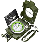 Proster Military Lensatic Compass IP65 Sighting Compass with Clinometer Multifunctional Metal Compass Fluorescent Tritium Compass for Camping Hunting Hiking Geology Activities