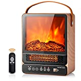 Tangkula 14.5' Mini Portable Electric Fireplace, 750W/1500W Tabletop Stove Heater with 3D Flame & Remote Control, Electric Fireplace Heater with Overheat Protection,12H Timer (Maple)
