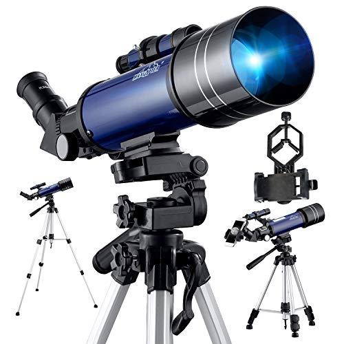 Telescopio Reflector Astronómico, MAXLAPTER 400/70MM Portátil y Potente con Trípode Profesional, Oculares HD...