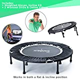 MaXimus HIIT Bounce PRO   Workout Trampoline For Adults   Folding Rebounder with Flat or Incline For Awesome Cardio & Tone Exercise Improving Agility   Includes DVDs for Fitness, Runners & Weight Loss