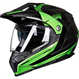 ILM Off Road Motorcycle Dual Sport Helmet Full Face Sun Visor Dirt Bike ATV Motocross Casco DOT Certified (M, Green)