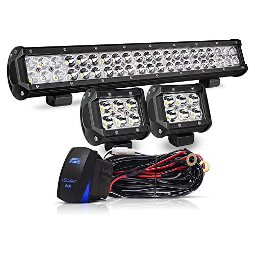 20 Inch LED Light Bar 126W Spot Flood Combo LED Bar 2PCS 4Inch Spot Pods Cubes with Rocker Switch Wiring Harness for Ford Polaris GMC Chevy ATV,1Years Warranty