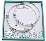 Mother Daughter Women's Bangle Bracelets in Stainless Steel   Handcrafted Sterling Silver Round Disk with a Cut-out Heart   Unique Design Mother and Daughter Gift Sets